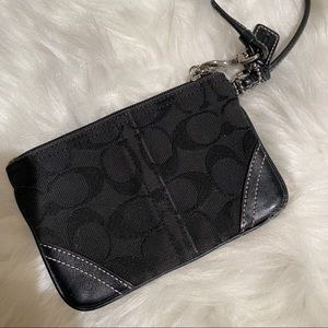 COACH Black large C wristlet